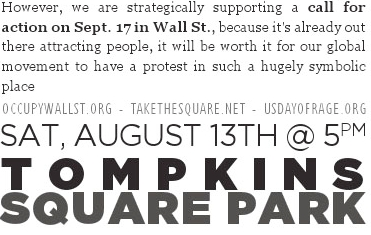 Next General Assembly for #occupywallstreet #sept17 Aug 13 5p Tompkins Sq Prk Everyone Welcome!