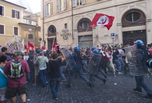 Clashes in front of Italian parliament after austerity vote