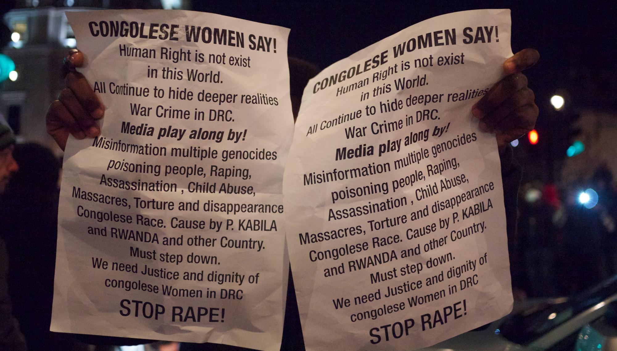 Trafalgar Square, London – Remarkable media silence on Congo protests