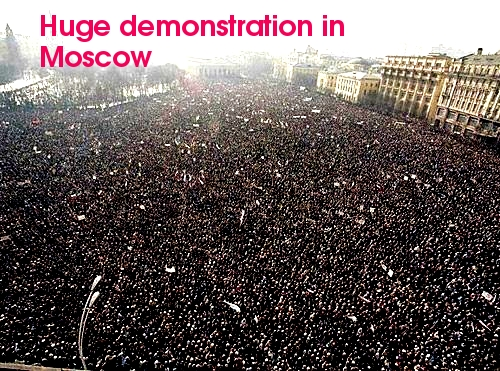 Up to 120,000 people demonstrated in Moscow yesterday calling for new elections