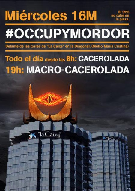 Poster from #occupyMordor potbanging action